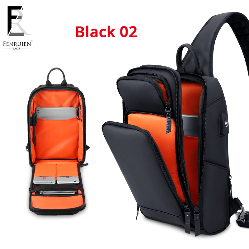 Image 5 - FRN new Crossbody Shoulder Bag for Men Sling Bag Usb Charging Short Trip Casual Messenger Bags Water Repellent Chest Bag Male-in Waist Packs from Luggage & Bags