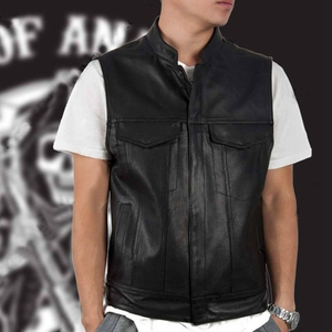 Image 3 - 4 Styles Sons Of Anarchy Embroidery Leather Rock Punk Vest Cosplay Costume Black Color Motorcycle Sleeveless Jacket