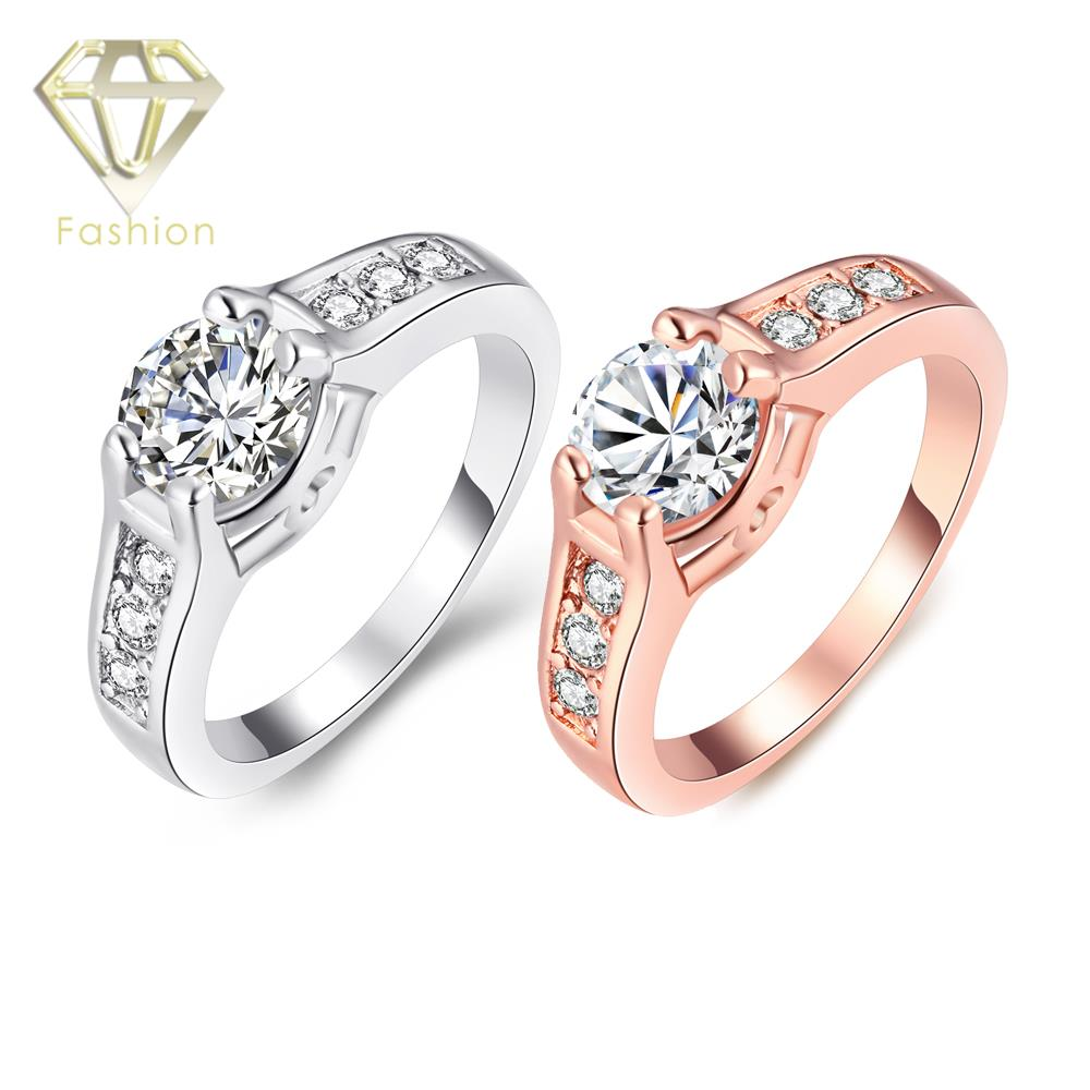 White Gold Color With Aaa+ Cubic  Zircon Engagement Ring Jewelry For Women Weddingin Rings From Jewelry &  Accessories
