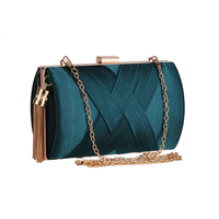 1a6f616d4 Pleated Satin Woven Evening Bag Metal Tassel Party Chain Shoulder Dress Bag  Small Purse Female Day
