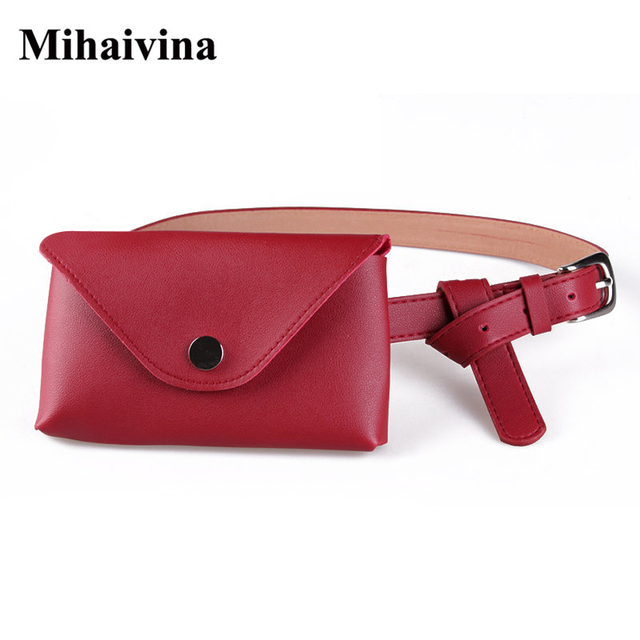 Mihaivina Fashion Women Waist Bag High Quality PU Leather Belt Bag Pack For Women Girl Travel Casual Waist Pouch Fanny Pack