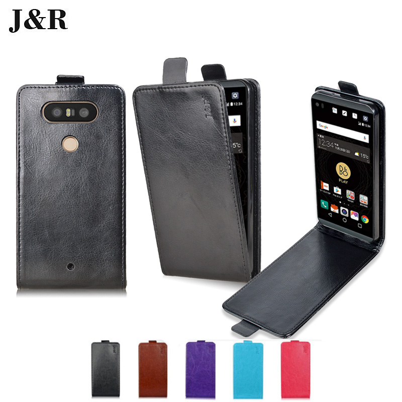 J&R Leather Case For LG Q8 H970 Flip PU Back Cover For LG V20 Mini V34 5.2 Inch Open Up Down Magnetic Phone Cases Accessories