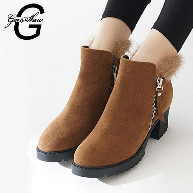 GENSHUO Winter Shoes Women Boots Warm Short Plush Ankle Boots For Women Mink Hair Zipper High Heels Boots Women In Ankle Nubuck