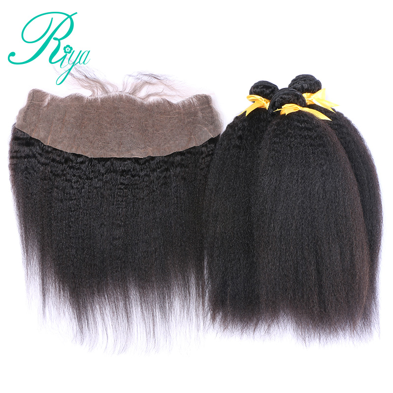 Mongolian Kinky Straight Hair 13x4 Lace Frontal Closure With Bundles 4 Pcs/Lot 3 Brazilian Virgin Hair Weave With Frontal Riya
