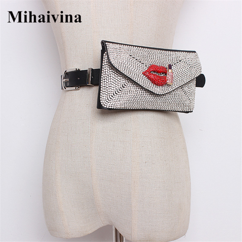 Mihaivina Luxury Belt Bags Women Diamonds Waist Bag Blingbling Fanny Pack Female Waist Packs Coin Purse Hip Bum Bag Fit IPhoneXS
