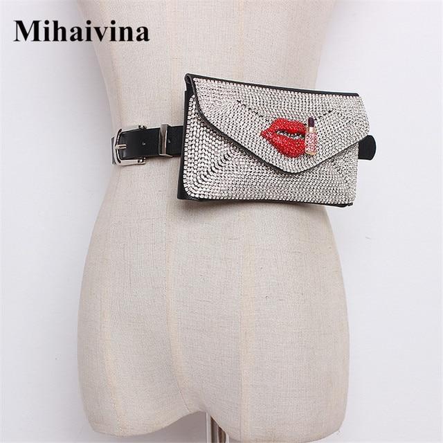 Mihaivina Luxury Belt Bags Women Diamonds Waist Bag Blingbling Fanny Pack Female Waist Packs Coin Purse Hip Bum Bag Fit iPhoneXS