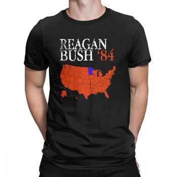 582af2d1bb Vintage agobiados Reagan Bush 84 Casual T camisa de los hombres Ronald  George elección presidencial Republicano Ropa Camisetas Camiseta de algodón