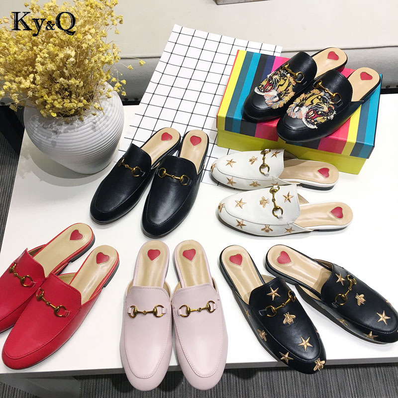 Brands Women Spring Mules Fashion Flat Heel Slip On Slides Embroidery Pattern Shoes Backless Loafer phyanic fashion women s slide on slip on mule star bee embroidery loafer flats shoes slides slippers new woman mules outside