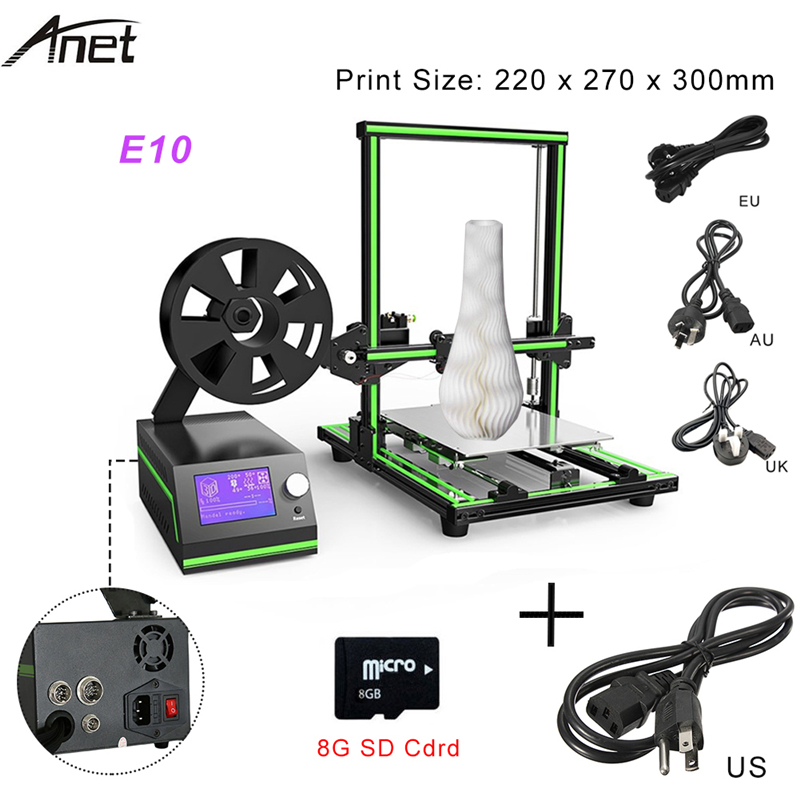Anet 3D E10 Printer Three-dimensional High-precision DIY Printer Support 1.75mm ABS / PLA Print Material free shiping ciclop diy 3d three dimensional scanner adapter plate precision machine parts for 3d printer parts