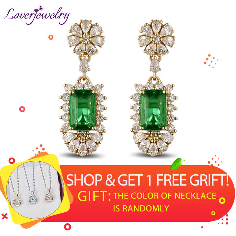 14K Yellow Gold Natural Gemstone Emerald Female Earrings Real Diamond 585 Gold Lady Drop Earrings Women Party Fine Jewelry Gift