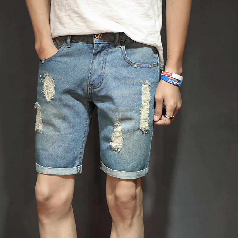 Mens jeans, Korean style, light color, holes, jeans, shorts and mens trousers.