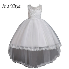 It's YiiYa Flower Girl Dresses 6 Colors Sleeveless O-Neck Court Train Girls Pageant Dresses Vestidos De Noches Para Ninas 2005