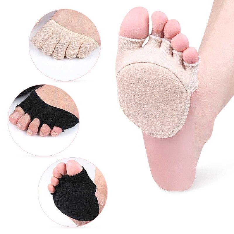 Women Five-finger   Socks   Invisible Female Cotton High-heeled Short   Socks   Half Palm Shallow Port On-slip Open Toe   Socks