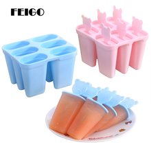 FEIGO 6 Grids DIY Ice Cream Mold reusable Popsicle Maker Lolly Mould New Kitchen Ice Cream Pop Molds Ice Lolly Makers Base F893