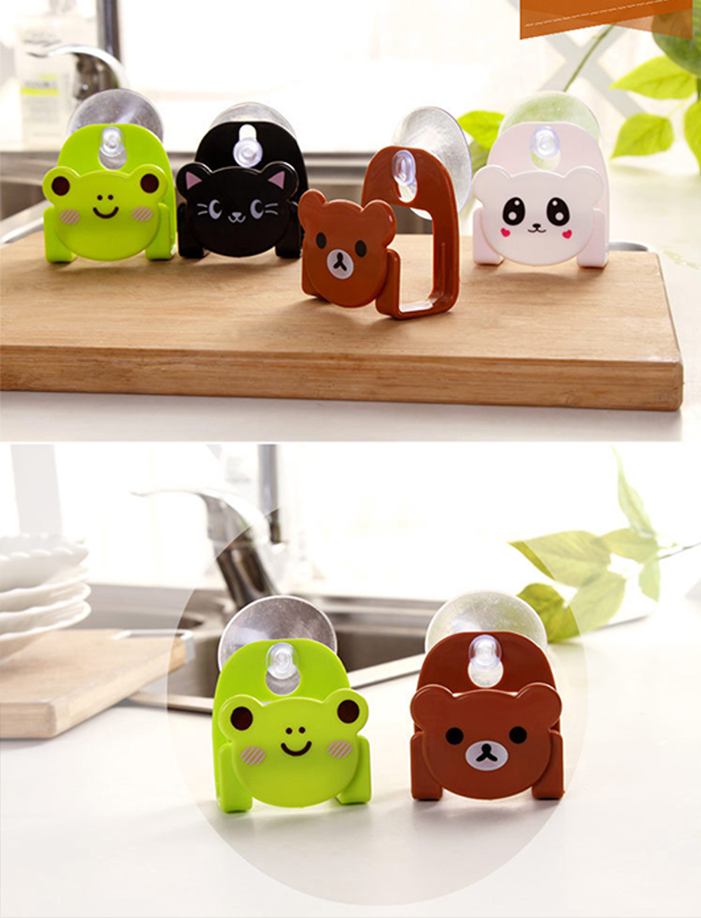 1pc Cartoon Sink Suction Cup Storage Rack Sponge Holder Clip Rag Storage Rack Kitchen Bathroom Multi-Purpose Hooks