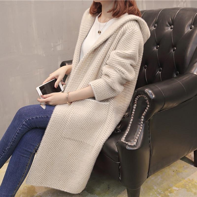 Женский осенний свитер, новинка 2018, стильный свободный свитер в Корейском стиле, длинный вязаный кардиган с капюшоном и длинным рукавом для ... - 4