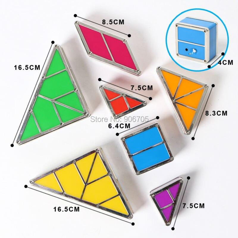 Yaratıcı kombinasyonu ile Tangram Manyetik oyuncaklar ışık - Yapı ve İnşaat Oyuncakları - Fotoğraf 4