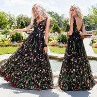 Deep V Sleeveless Embroidered Dress New Fashion Slim Backless Big Swing Prom Women's Long Dress Vestidos 702