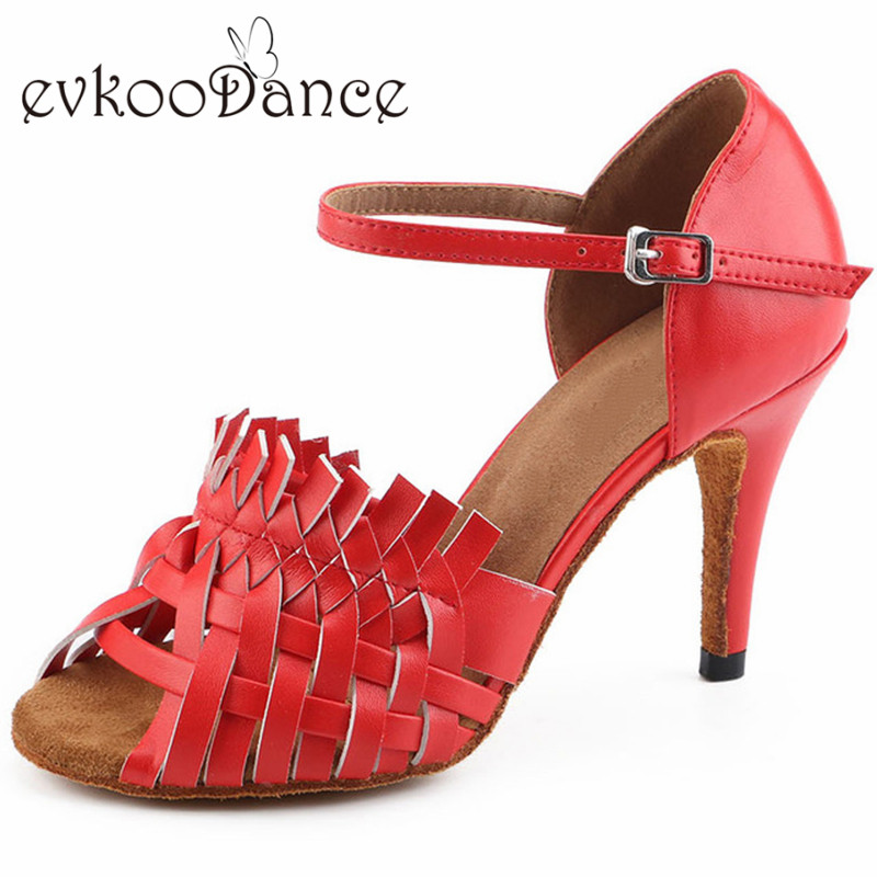 Comfortable Red White And Black Leather Heel Height 8.5 cm Size US 4-12 Latin Salsa Satin Dace Shoes For Women NL188 sgesvier comfortable senior leather fabrics simple and easy red green and four color yellow women flat shoes size 34 41 xt21