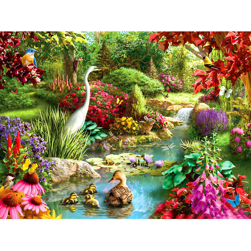 5D DIY Diamond painting Landscape Animal ducks and geese flower garden Round drill diamond Holiday Gifts