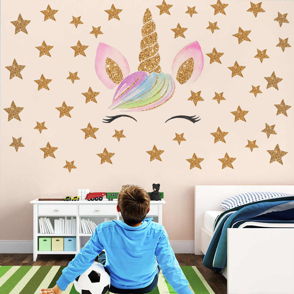 Cartoon Unicorn Star Wall Stickers For Kids Room Children Room Girls Rooms DIY Animal Wallpaper Wall Decor Nursery