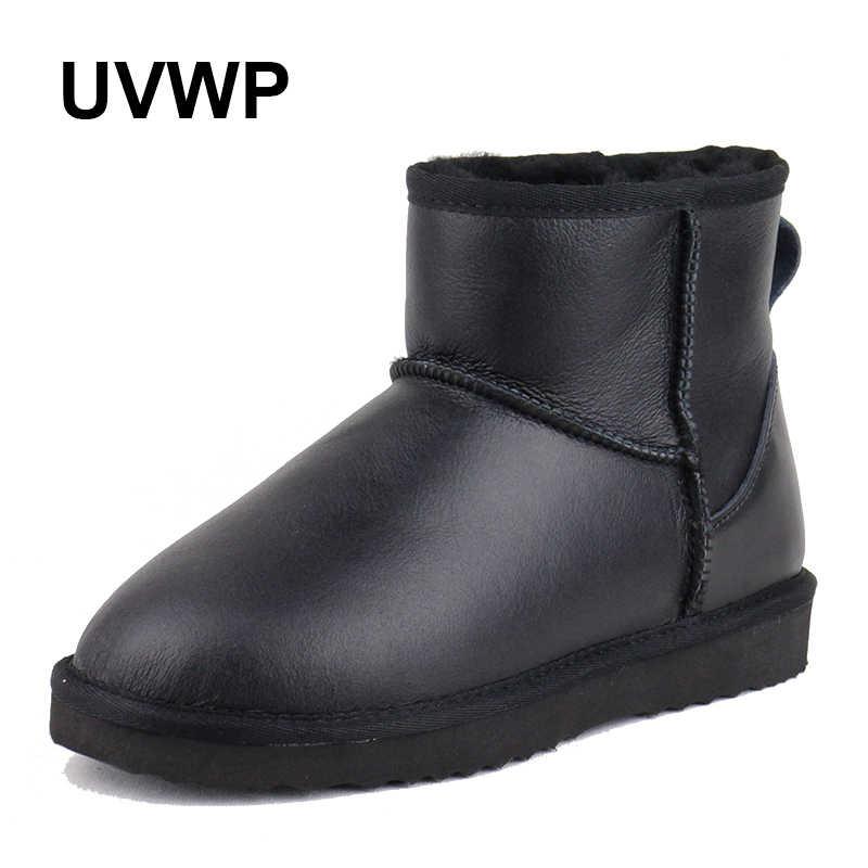 49f7a3fdafae UVWP Новая мода натуральный мех зимние сапоги 100% Натуральная овечья кожа  женские сапоги теплые