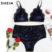 SHEIN Women S Pajamas Set Sleepwear Women Navy Lace Trim Velvet Triangle Bra Panty Lingerie Set