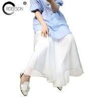 ORDEESON Best Quality 3 Layers 90cm Summer Midi Tulle Skirt Fashion Pleated TUTU Skirts Womens Elastic Belt White Dot Pattern