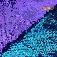125*45 CM Reversibile Sirena Paillette Tessuto Paillettes per Bambini Biancheria Da Letto tessile per Cucire Tilda Bambola, mano FAI DA TE materiale
