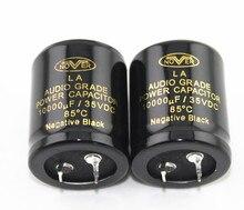 2 pces nover capacitor de potência áudio 10000 uf/35vdc preto negativo capacitância
