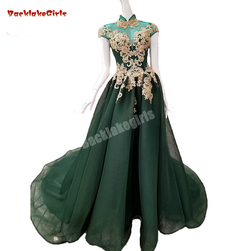 2018 Green Tulle Evening Dress Floor-length Court Train A-line Sleeveless Illusion Prom Dresses  Vestido De Festa Party Dress