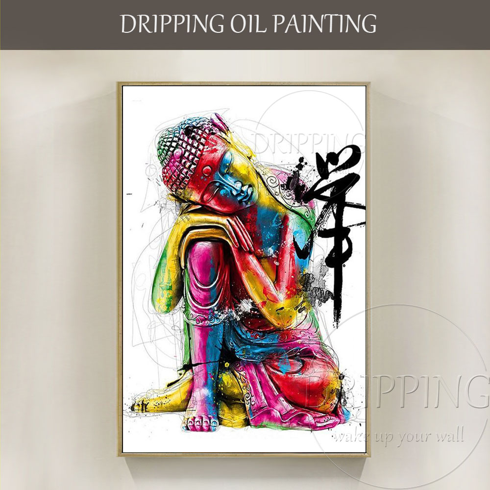 Fashion Colors Artist Hand-painted High Quality Thinking Buddha Figure Oil Painting on Canvas Modern Colorful Buddha Painting