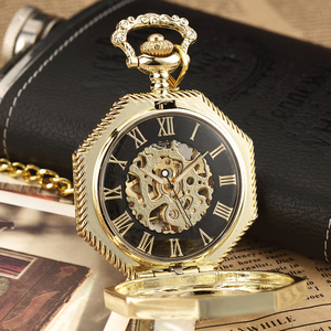 Image 2 - Luxury Unique Hexagonal Roman Number Pocket Watch with FOB Chain Steampunk Full Steel Mechanical Hand winding Gold Pocket Watch