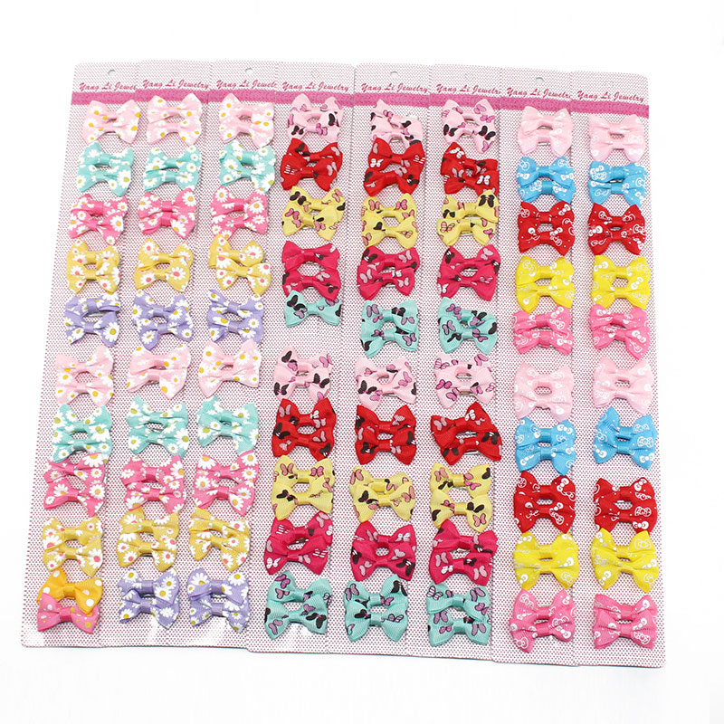 20pcs Baby Bow Hair Clips For Girls Children Hairpins Hair Accessories Color Flower Barrettes Cute Pet Kids Ribbon Clip Pins 4cm