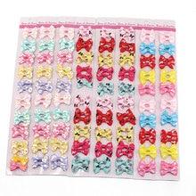 цена на 20pcs Baby Bow Hair Clips for Girls Children Hairpins Hair Accessories Color Flower Barrettes Cute Pet Kids Ribbon Clip Pins 4cm