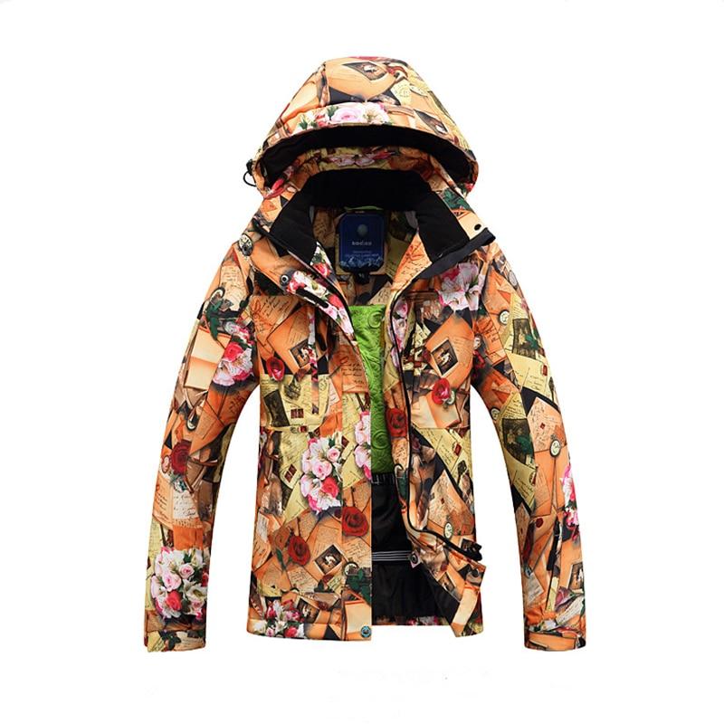 Winter Ski Jackets Female Jacket 2019 NEW High Quality Windproof Waterproof Warm Colorful Bright Ms. Flower Ski Jacket Women