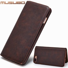Musubo Luxury Leather Phone Case For iPhone 7 Plus 6s Ultra thin Cover Cases With Card Slot Flip Holster for iphone 8 Plus Capa