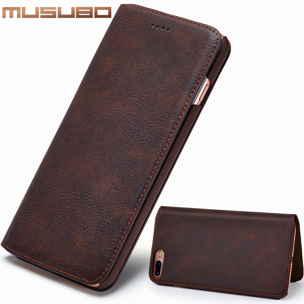 Musubo Luxury Leather Phone Case For iPhone 7 Plus 6s Ultra thin Cover Cases With Card Slot Flip Holster for iphone 8 Plus CapaMusubo Luxury Leather Phone Case For iPhone 7 Plus 6s Ultra thin Cover Cases With Card Slot Flip Holster for iphone 8 Plus Capa