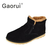 New Winter Men Warm Snow Boots PU Leather Thick Plush Men Ankle Boots Male Casual Zip