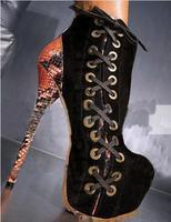 Новое поступление; пикантные женские туфли на каблуке 16 см со змеиным узором; черные замшевые ботильоны на высокой платформе с ремешками; же