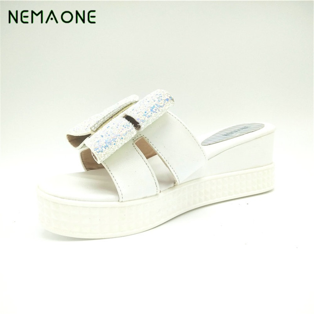 NEMAONE Fashion Women Slippers Summer Open Toe Sandals Women High Heeled Wedges Slippers Sexy Rhinestone Platform Women Shoes summer women leather high heeled shoes sandals rhinestone pump sandals ladies open toe slippers plus size 33 41