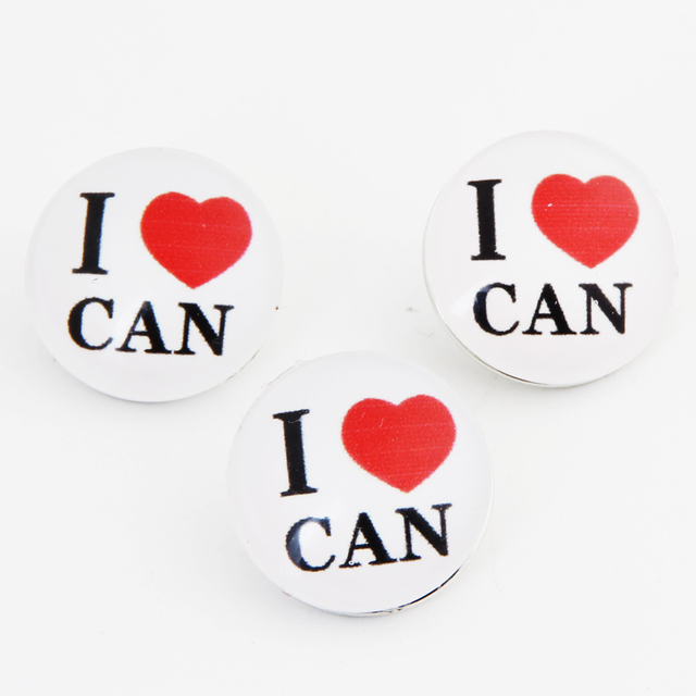 20 Pcs 18mm Glass Snap Buttons I Love Canada Snap Charms Fit For DIY Women Snap Jewelry