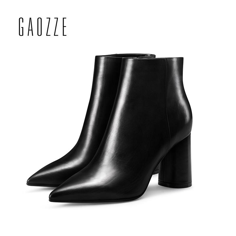 GAOZZE Black Ankle Boots For Women Leather 2017 Autumn New Pointed Toe Fashion Thick Heel Boots High-Heeled Ankle Boots Women czrbt patchwork ankle boots women spring autumn cow suede leather pointed toe black high heel boots thick heel chelsea boots