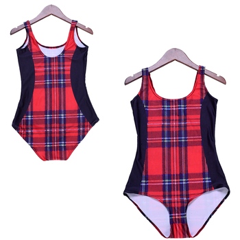 Vintage Red Tartan Swimsuit Monokinis One Piece Swimwear British Style Student Bathing Suit Sexy Ladies Surf Sports Bodysuits tartan
