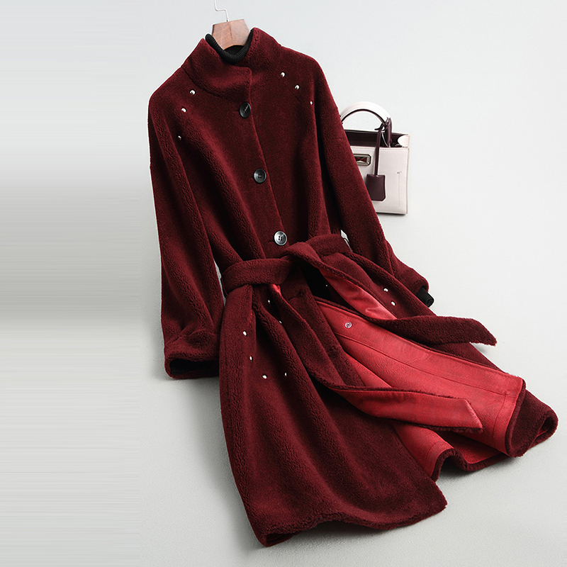 Solide Manteaux Réel Femmes Mouton Ll2030 Veste Automne De Laine Fourrure 2018 Longue Manteau Beige wine Hiver Red Femelle Mode Femme noir cARj4L35q