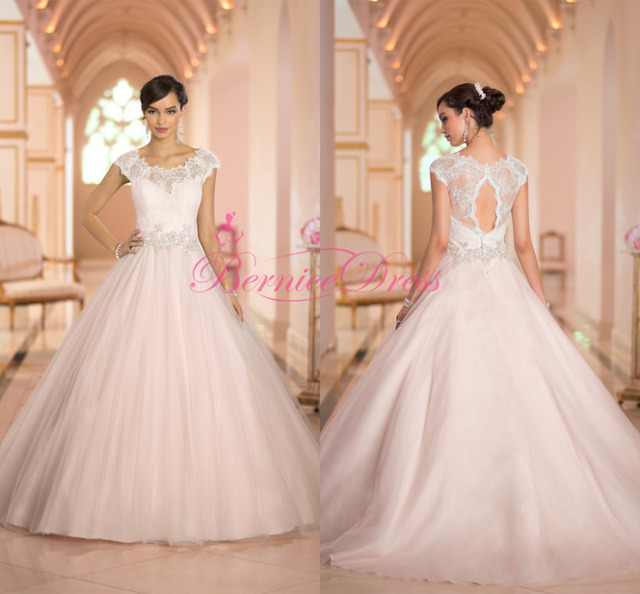Ball Gown Wedding Dresses 2014 Court Train Scoop Lace Tulle Light ...