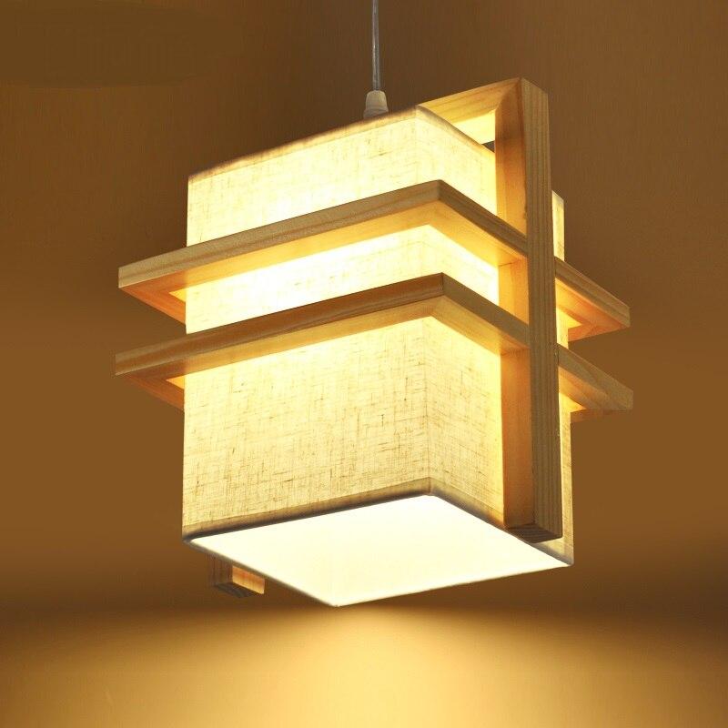 Solid Wooden original restaurant pendant lights wood+Cloth shade creative living room bedroom Wooden 1-2heads pendant lamps