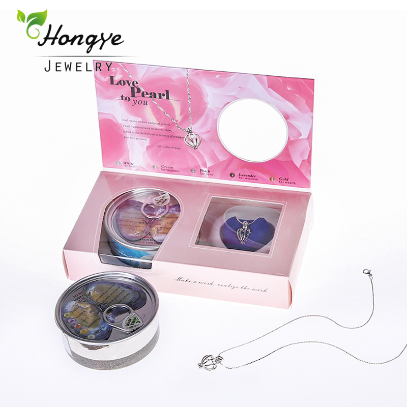 Hongye Pearl Necklace Wish Boxes Natural Freshwater Pearl Pendant Women Fashion Cage Holder Necklace Oyster For Christmas Gift