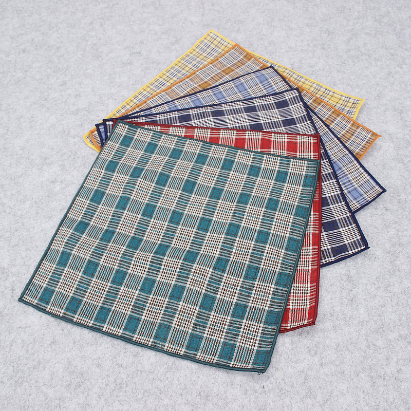 2018 Brand New Men's 100% Cotton Fashion Hankerchief Scarves Vintage Plaid Hankies For Men Pocket Squares Handkerchiefs 25*25 Cm
