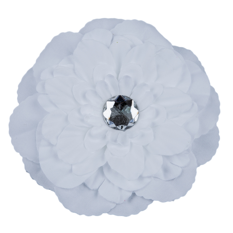 Rhinestone Peony Flower Hair Clip For Girl Lady White A75